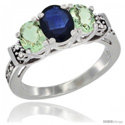 14K White Gold Natural Blue Sapphire & Green Amethyst Ring 3-Stone Oval with Diamond Accent