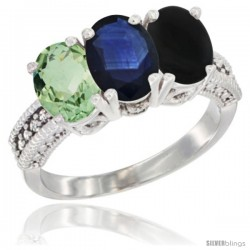 14K White Gold Natural Green Amethyst, Blue Sapphire & Black Onyx Ring 3-Stone 7x5 mm Oval Diamond Accent