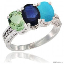 14K White Gold Natural Green Amethyst, Blue Sapphire & Turquoise Ring 3-Stone 7x5 mm Oval Diamond Accent