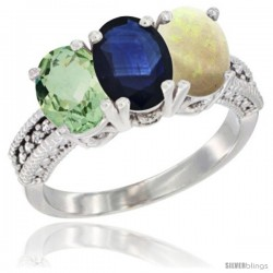 14K White Gold Natural Green Amethyst, Blue Sapphire & Opal Ring 3-Stone 7x5 mm Oval Diamond Accent