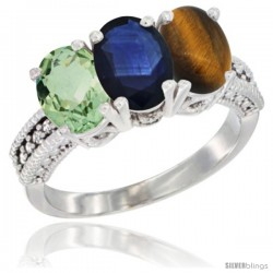 14K White Gold Natural Green Amethyst, Blue Sapphire & Tiger Eye Ring 3-Stone 7x5 mm Oval Diamond Accent