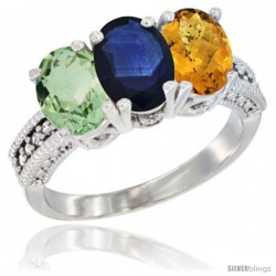 14K White Gold Natural Green Amethyst, Blue Sapphire & Whisky Quartz Ring 3-Stone 7x5 mm Oval Diamond Accent