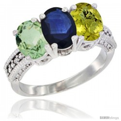 14K White Gold Natural Green Amethyst, Blue Sapphire & Lemon Quartz Ring 3-Stone 7x5 mm Oval Diamond Accent