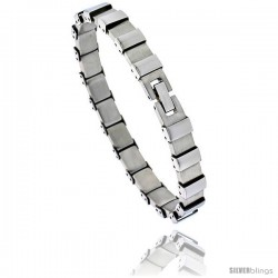 Stainless Steel Men's Bracelet Square Links, 8 in long