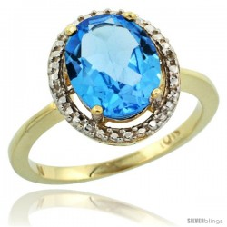 10k Yellow Gold Diamond Swiss Blue Topaz Ring 2.4 ct Oval Stone 10x8 mm, 1/2 in wide -Style Cy904114