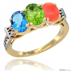 10K Yellow Gold Natural Swiss Blue Topaz, Peridot & Coral Ring 3-Stone Oval 7x5 mm Diamond Accent