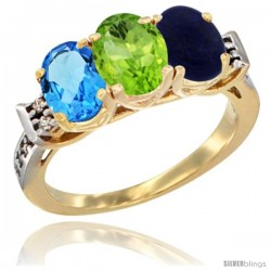 10K Yellow Gold Natural Swiss Blue Topaz, Peridot & Lapis Ring 3-Stone Oval 7x5 mm Diamond Accent