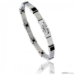 Stainless Steel Men's Bracelet with Black Rubber Accent, 8 in long