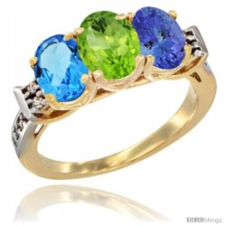 10K Yellow Gold Natural Swiss Blue Topaz, Peridot & Tanzanite Ring 3-Stone Oval 7x5 mm Diamond Accent