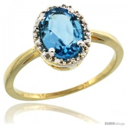 10k Yellow Gold Diamond Halo Swiss Blue Topaz Ring 1.2 ct Oval Stone 8x6 mm, 1/2 in wide