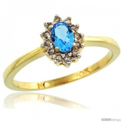 10k Yellow Gold Diamond Halo Swiss Blue Topaz Ring 0.25 ct Oval Stone 5x3 mm, 5/16 in wide