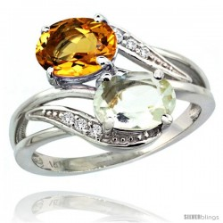 14k White Gold ( 8x6 mm ) Double Stone Engagement Green Amethyst & Citrine Ring w/ 0.07 Carat Brilliant Cut Diamonds & 2.34