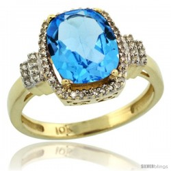 10k Yellow Gold Diamond Halo Swiss Blue Topaz Ring 2.4 ct Cushion Cut 9x7 mm, 1/2 in wide