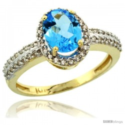 10k Yellow Gold Diamond Halo Swiss Blue Topaz Ring 1.2 ct Oval Stone 8x6 mm, 3/8 in wide