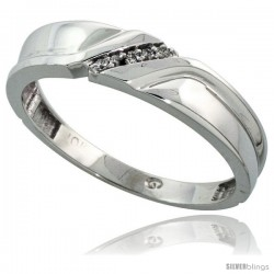10k White Gold Mens Diamond Wedding Band Ring 0.04 cttw Brilliant Cut, 3/16 in wide -Style 10w008mb
