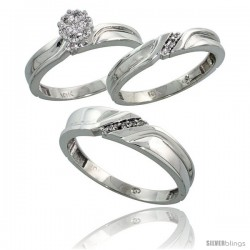 10k White Gold Diamond Trio Engagement Wedding Ring 3-piece Set for Him & Her 5 mm & 3.5 mm wide 0.11 cttw Brilliant Cut