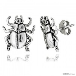 Tiny Sterling Silver Bug Stud Earrings 1/2 in