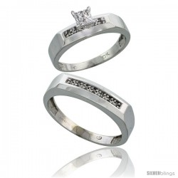 10k White Gold Diamond Engagement Rings 2-Piece Set for Men and Women 0.11 cttw Brilliant Cut, 4.5mm & 5mm wide