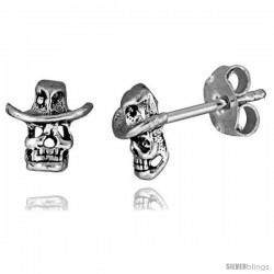 Tiny Sterling Silver Skull Stud Earrings 5/16 in