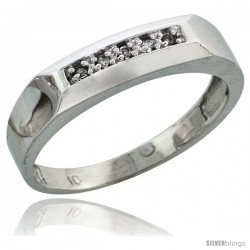 10k White Gold Ladies Diamond Wedding Band Ring 0.03 cttw Brilliant Cut, 3/16 in wide -Style 10w009lb