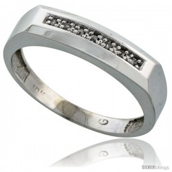 10k White Gold Mens Diamond Wedding Band Ring 0.04 cttw Brilliant Cut, 3/16 in wide -Style 10w009mb