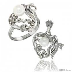 Sterling Silver Heart LOVE Bow w/ Faux Pearl Ring & Pendant Set CZ Stones Rhodium Finished
