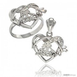 Sterling Silver No. 1 Madre w/ Cupid's Bow Heart Ring & Pendant Set CZ Stones Rhodium Finished