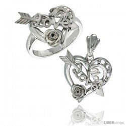 Sterling Silver LOVE MOM w/ Cupid's Bow & Rose Heart Ring & Pendant Set CZ Stones Rhodium Finished