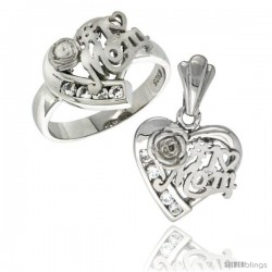 Sterling Silver No. 1 MOM Heart Love Ring & Pendant Set CZ Stones Rhodium Finished