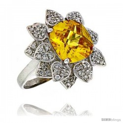 Sterling Silver & Rhodium Plated Ladies' Flower Ring, w/ a Large (12 mm) Center Yellow Topaz-colored Cubic Zirconia Stone