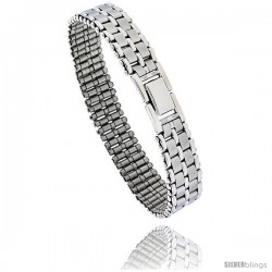 Stainless Steel Men's Basket Weave Bracelet, 8 in long