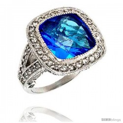 Sterling Silver & Rhodium Plated Ladies' Ring, w/ a Large (16 mm) Center Blue Topaz-colored Cubic Zirconia Stone, 13/16""