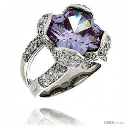 Sterling Silver & Rhodium Plated Ladies' Ring, w/ a Large (13 mm) Center Light Amethyst-colored Cubic Zirconia Stone, 11/16""