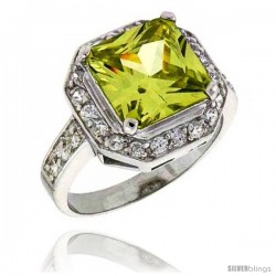 Sterling Silver & Rhodium Plated Ladies' Ring, w/ a Large (10 mm) Center Princess Cut Peridot-colored Cubic Zirconia Stone