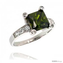Sterling Silver & Rhodium Plated Ladies' Ring, w/ a Large (8 mm) Center Fern Green-colored Princess Cut Cubic Zirconia Stone