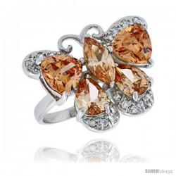 "Sterling Silver & Rhodium Plated Ladies' Butterfly Ring, w/ Citrine-colored Cubic Zirconia Stones, 3/4"" (20 mm) wide"