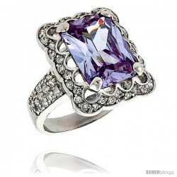 Sterling Silver & Rhodium Plated Ladies' Ring, w/ a Large (15 x 11 mm) Center Light Amethyst-colored Cubic Zirconia Stone
