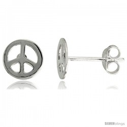 Sterling Silver Peace Sign Earrings 5/16 in, 5/16 in(8 mm)