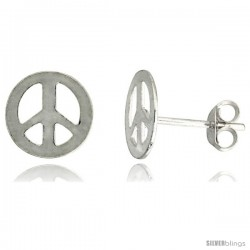 Sterling Silver Peace Sign Stud Earrings 3/8 in, 3/8 in(10 mm)