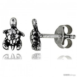 Tiny Sterling Silver Turtle Stud Earrings 5/16 in -Style Es13