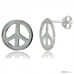 Sterling Silver Peace Sign Stud Earrings 1/2 in, 1/2 in(13 mm)