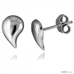 Tiny Sterling Silver Drop Stud Earrings 3/8 in