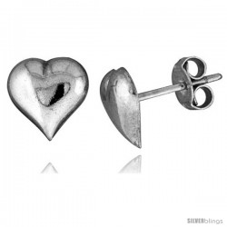 Tiny Sterling Silver Heart Stud Earrings 5/16 in