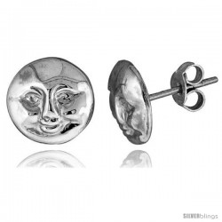 Tiny Sterling Silver Moon Stud Earrings 3/8 in