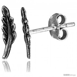 Tiny Sterling Silver Feather Stud Earrings 7/16 in