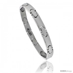 Solid Stainless Steel Link Bracelet, 8 in long