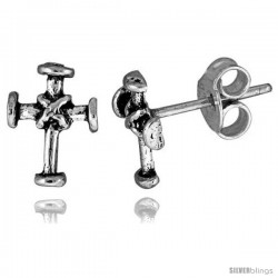 Tiny Sterling Silver Cross Stud Earrings 3/8 in -Style Es147