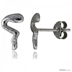 Tiny Sterling Silver Snake Stud Earrings 7/16 in