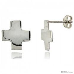 Tiny Sterling Silver Cross Stud Earrings 1/2 in, 1/2 in(13 mm)
