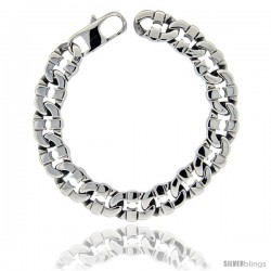 Stainless Steel Men's Flat Mariner Link Bracelet Hefty Hand Made High polish 1/2 in wide, size 8.5 in